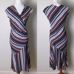 DVF Stretch Silk Faux Wrap Stripe Dress